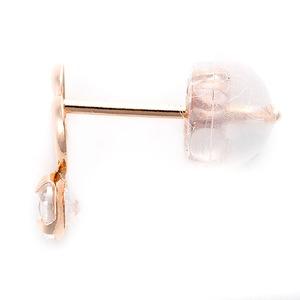 ピアス キュービックジルコニア K18 ピンクゴールド 0.2ctサイズ 高品質 ハートモチーフ シリコン製ダブルロックキャッチ仕様