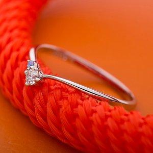 【鑑別書付】プラチナPT950 天然ダイヤリング 指輪 ダイヤ0.05ct アイスブルーダイヤ0.01ct 10.5号 V字モチーフ - 拡大画像