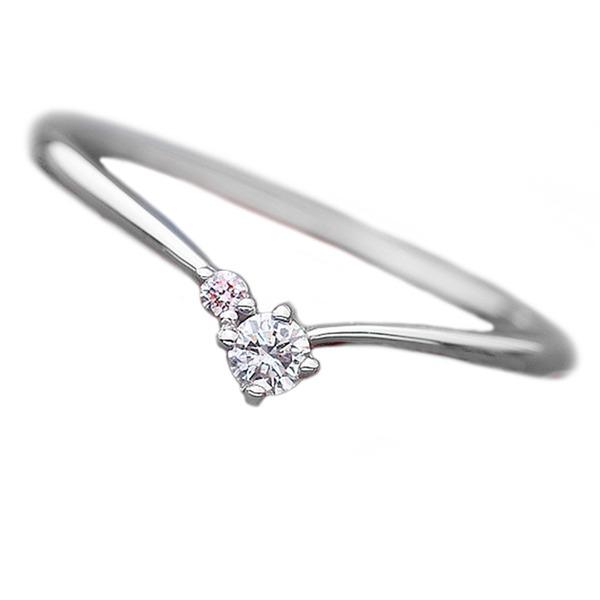 【鑑別書付】プラチナPT950 天然ダイヤリング 指輪 ダイヤ0.05ct ピンクダイヤ0.01ct 10号 V字モチーフf00