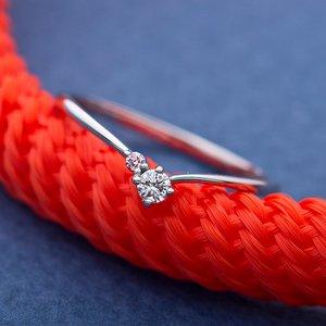 【鑑別書付】プラチナPT950 天然ダイヤリング 指輪 ダイヤ0.05ct ピンクダイヤ0.01ct 10号 V字モチーフ h03