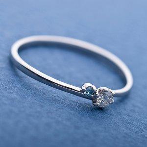 【鑑別書付】プラチナPT950 天然ダイヤリング 指輪 ダイヤ0.05ct アイスブルーダイヤ0.01ct 9.5号 V字モチーフ h03