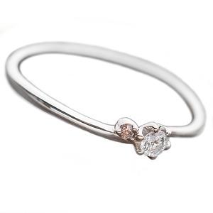 【鑑別書付】プラチナPT950 天然ダイヤリング 指輪 ダイヤ0.05ct ピンクダイヤ0.01ct 10号 h01