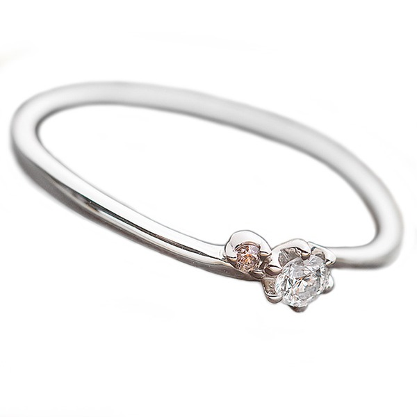 【鑑別書付】プラチナPT950 天然ダイヤリング 指輪 ダイヤ0.05ct ピンクダイヤ0.01ct 10号f00