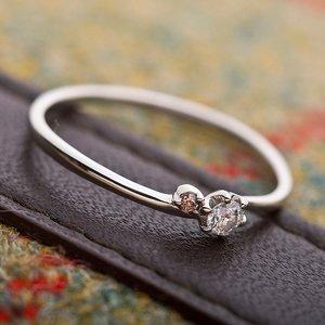 【鑑別書付】プラチナPT950 天然ダイヤリング 指輪 ダイヤ0.05ct ピンクダイヤ0.01ct 10号 h03
