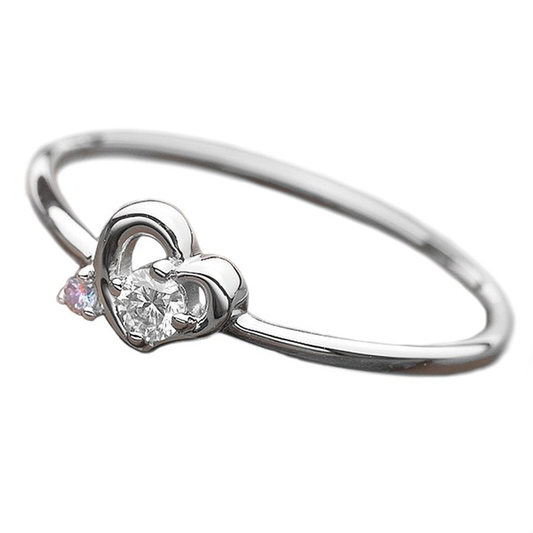 【鑑別書付】プラチナPT950 天然ダイヤリング 指輪 ダイヤ0.05ct アイスブルーダイヤ0.01ct 10.5号 ハートモチーフf00