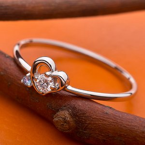 【鑑別書付】プラチナPT950 天然ダイヤリング 指輪 ダイヤ0.05ct アイスブルーダイヤ0.01ct 11.5号 ハートモチーフ h03