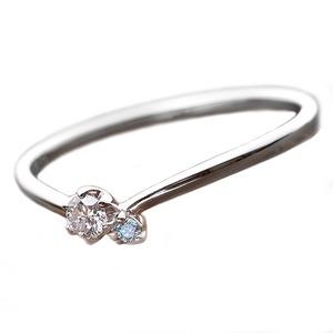 【鑑別書付】プラチナPT950 天然ダイヤリング 指輪 ダイヤ0.05ct アイスブルーダイヤ0.01ct 11号 V字モチーフ h01
