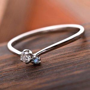 【鑑別書付】プラチナPT950 天然ダイヤリング 指輪 ダイヤ0.05ct アイスブルーダイヤ0.01ct 11号 V字モチーフ h03