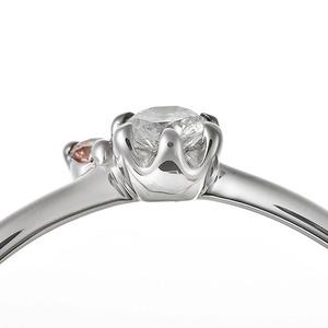 【鑑別書付】プラチナPT950 天然ダイヤリング 指輪 ダイヤ0.05ct ピンクダイヤ0.01ct 10号 V字モチーフ