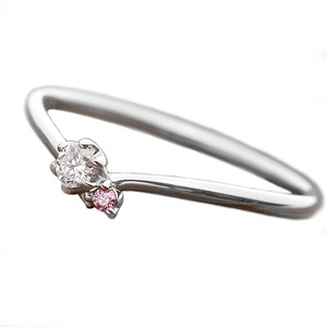 【鑑別書付】プラチナPT950 天然ダイヤリング 指輪 ダイヤ0.05ct ピンクダイヤ0.01ct 13号 V字モチーフ - 拡大画像