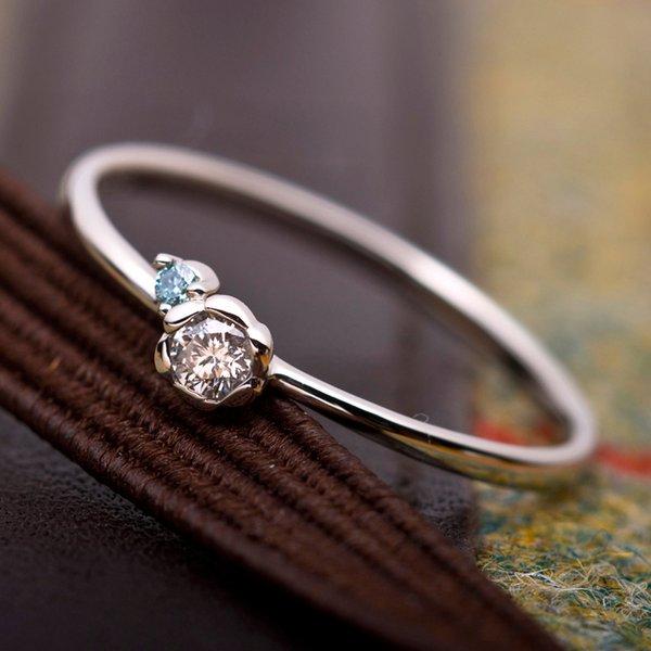 【鑑別書付】プラチナPT950 天然ダイヤリング 指輪 ダイヤ0.05ct アイスブルーダイヤ0.01ct 9号 フラワーモチーフf00