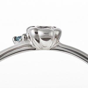 【鑑別書付】プラチナPT950 天然ダイヤリング 指輪 ダイヤ0.05ct アイスブルーダイヤ0.01ct 9号 フラワーモチーフ h02