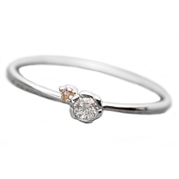 【鑑別書付】プラチナPT950 天然ダイヤリング 指輪 ダイヤ0.05ct ピンクダイヤ0.01ct 12.5号 フラワーモチーフf00