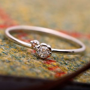 【鑑別書付】プラチナPT950 天然ダイヤリング 指輪 ダイヤ0.05ct ピンクダイヤ0.01ct 12.5号 フラワーモチーフ h03