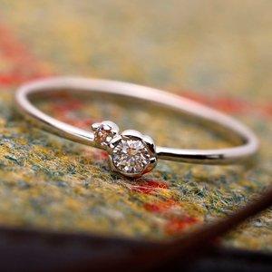 【鑑別書付】プラチナPT950 天然ダイヤリング 指輪 ダイヤ0.05ct ピンクダイヤ0.01ct 13号 フラワーモチーフ h03