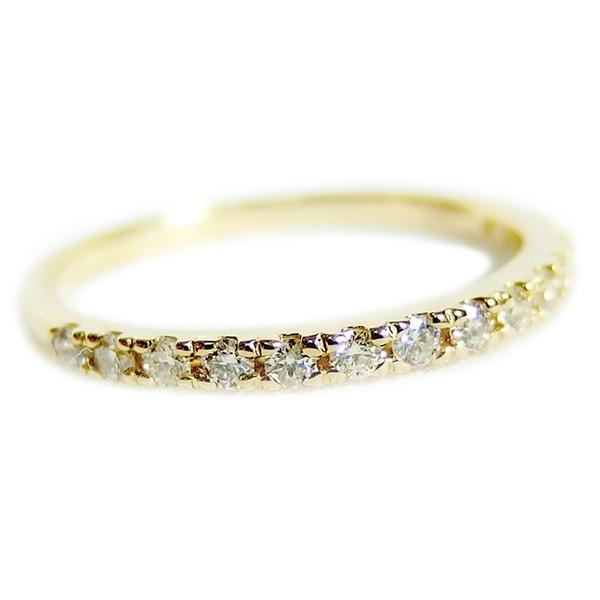 【鑑別書付】K18イエローゴールド 天然ダイヤリング 指輪 ダイヤ0.20ct 10号 ハーフエタニティリングf00