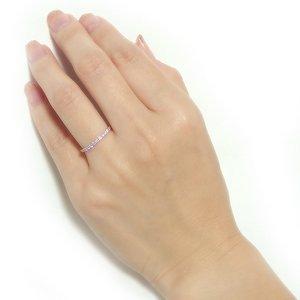 【鑑別書付】K18ピンクゴールド 天然ダイヤリング 指輪 ダイヤ0.20ct 8号 ハーフエタニティリング h02