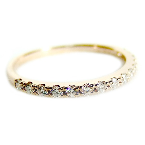 【鑑別書付】K18ピンクゴールド 天然ダイヤリング 指輪 ダイヤ0.20ct 13号 ハーフエタニティリングf00