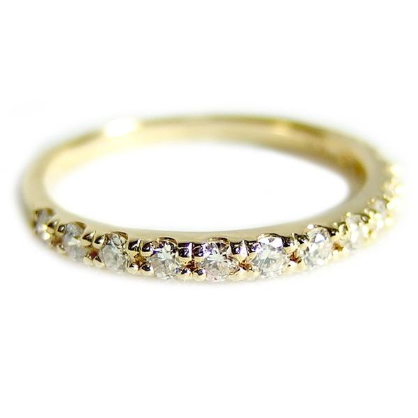 【鑑別書付】K18イエローゴールド 天然ダイヤリング 指輪 ダイヤ0.30ct 10.5号 ハーフエタニティリングf00