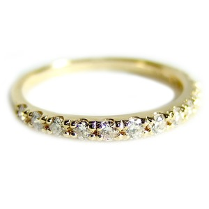【鑑別書付】K18イエローゴールド 天然ダイヤリング 指輪 ダイヤ0.30ct 11.5号 ハーフエタニティリング h01