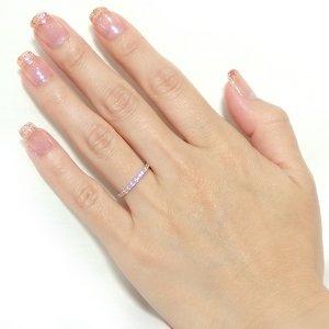 【鑑別書付】K18ピンクゴールド 天然ダイヤリング 指輪 ダイヤ0.30ct 11号 ハーフエタニティリング h02