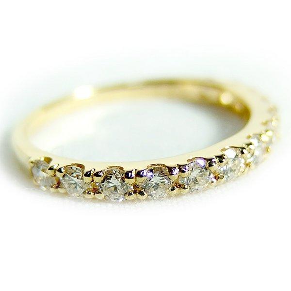 【鑑別書付】K18イエローゴールド 天然ダイヤリング 指輪 ダイヤ0.50ct 9号 ハーフエタニティリングf00