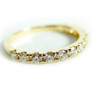 【鑑別書付】K18イエローゴールド 天然ダイヤリング 指輪 ダイヤ0.50ct 9.5号 ハーフエタニティリング h01