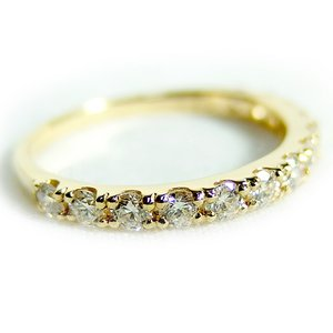 【鑑別書付】K18イエローゴールド 天然ダイヤリング 指輪 ダイヤ0.50ct 11号 ハーフエタニティリング h01