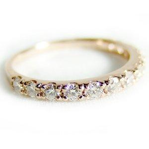 【鑑別書付】K18ピンクゴールド 天然ダイヤリング 指輪 ダイヤ0.50ct 10号 ハーフエタニティリング - 拡大画像