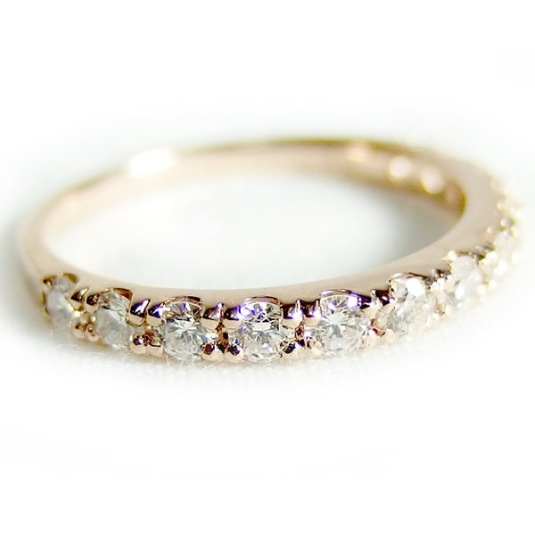 【鑑別書付】K18ピンクゴールド 天然ダイヤリング 指輪 ダイヤ0.50ct 10.5号 ハーフエタニティリングf00