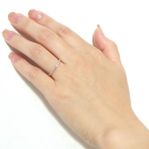 K18イエローゴールド 天然ダイヤリング 指輪 ダイヤ0.20ct 8号 Good H SI ハーフエタニティリング h02