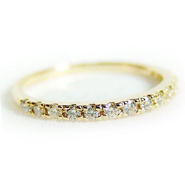 K18イエローゴールド 天然ダイヤリング 指輪 ダイヤ0.20ct 11.5号 Good H SI ハーフエタニティリングf00