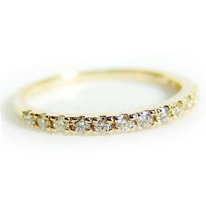 K18イエローゴールド 天然ダイヤリング 指輪 ダイヤ0.20ct 12号 Good H SI ハーフエタニティリング h01