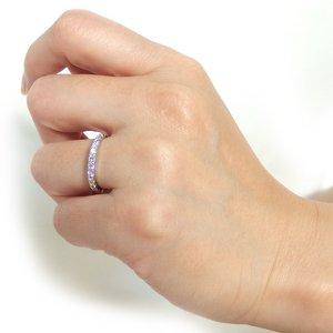 プラチナPT900 天然ダイヤリング 指輪 ダイヤ0.50ct 9号 Good H SI ハーフエタニティリング h02