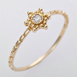 ダイヤモンド リング K10イエローゴールド 10号 ダイヤ0.03ct アンティーク調 星 スターモチーフ - 拡大画像