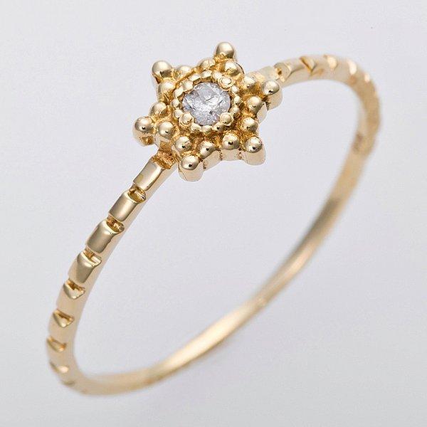 ダイヤモンド リング K10イエローゴールド 11.5号 ダイヤ0.03ct アンティーク調 星 スターモチーフf00