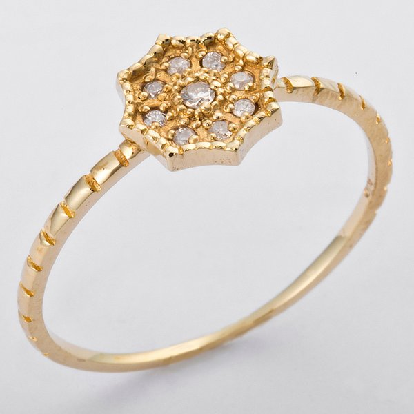 K10イエローゴールド 天然ダイヤリング 指輪 ダイヤ0.06ct 12.5号 アンティーク調 フラワーモチーフf00
