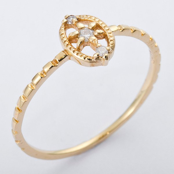 K10イエローゴールド 天然ダイヤリング 指輪 ダイヤ0.04ct 13号 アンティーク調f00