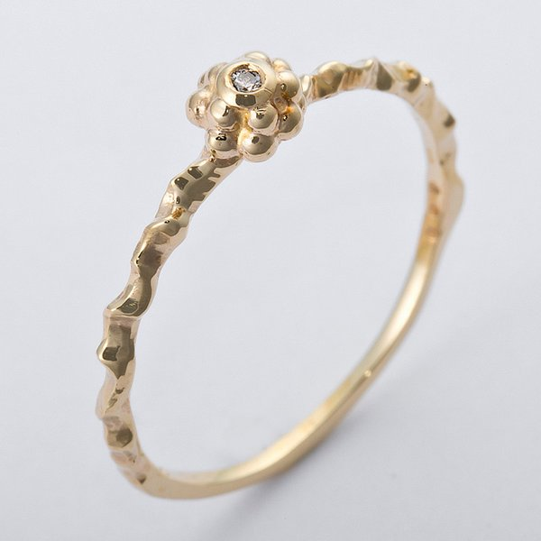 K10イエローゴールド 天然ダイヤリング 指輪 ダイヤ0.01ct 12号 アンティーク調 フラワーモチーフf00