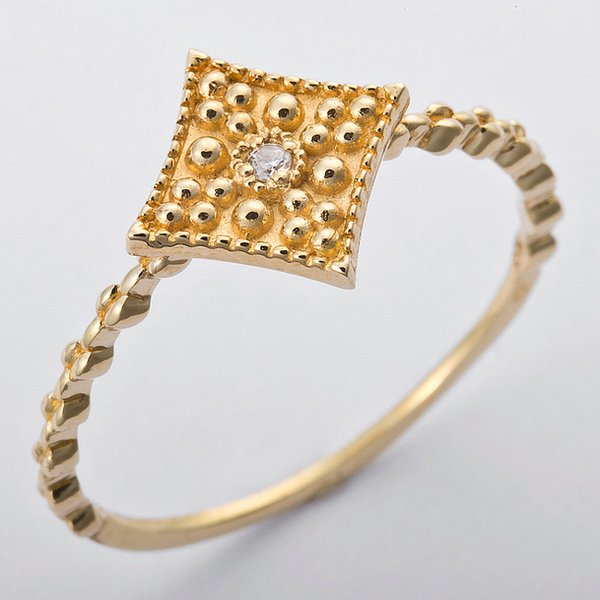 K10イエローゴールド 天然ダイヤリング 指輪 ダイヤ0.01ct 12.5号 アンティーク調 スクエアモチーフf00
