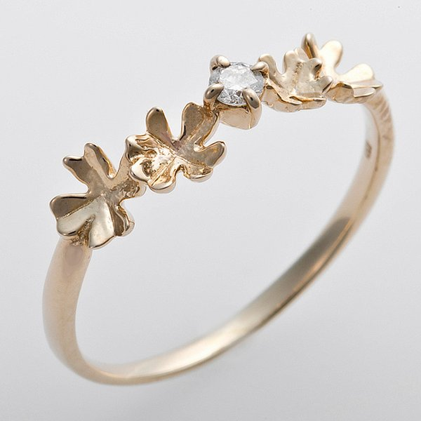 K10イエローゴールド 天然ダイヤリング 指輪 ダイヤ0.05ct 12.5号 アンティーク調 プリンセス フラワーモチーフf00