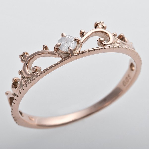 ダイヤモンド リング K10ピンクゴールド ダイヤ0.05ct 12.5号 アンティーク調 プリンセス ティアラモチーフ f00
