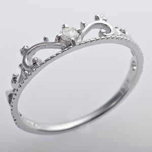 K10ホワイトゴールド 天然ダイヤリング 指輪 ダイヤ0.05ct アンティーク調 プリンセス ティアラモチーフ