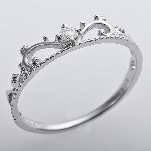 K10ホワイトゴールド 天然ダイヤリング 指輪 ダイヤ0.05ct 9号 アンティーク調 プリンセス ティアラモチーフf00