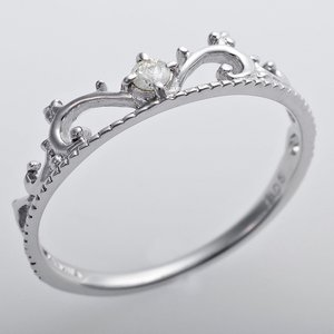 K10ホワイトゴールド 天然ダイヤリング 指輪 ダイヤ0.05ct 9.5号 アンティーク調 プリンセス ティアラモチーフ h01