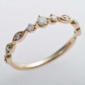 K10イエローゴールド 天然ダイヤリング 指輪 ピンキーリング ダイヤモンドリング 0.09ct 4.5号 アンティーク調 プリンセス h01