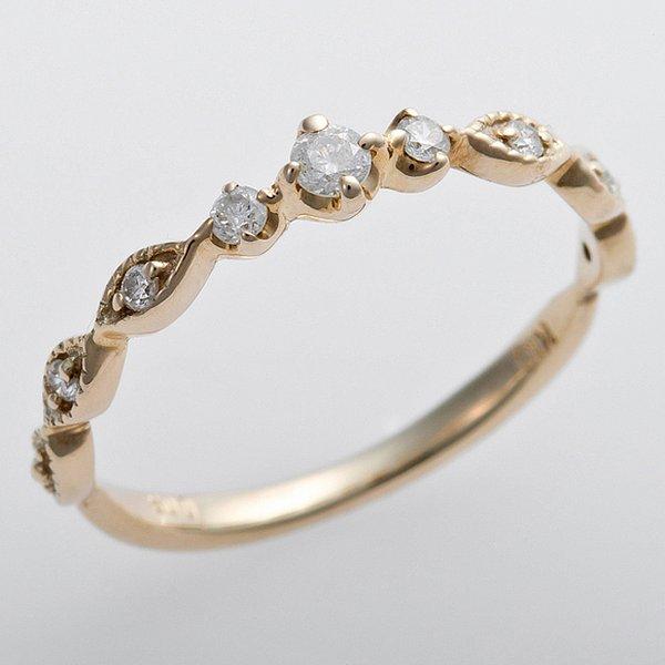 K10イエローゴールド 天然ダイヤリング 指輪 ピンキーリング ダイヤモンドリング 0.09ct 5号 アンティーク調 プリンセスf00