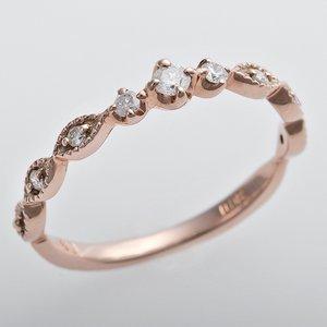 K10ピンクゴールド 天然ダイヤリング 指輪 ピンキーリング ダイヤモンドリング 0.09ct 5号 アンティーク調 プリンセス - 拡大画像