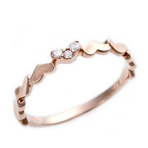 K10ピンクゴールド 天然ダイヤリング 指輪 ピンキーリング 0.03ct アンティーク調 プリンセス ハートモチーフ