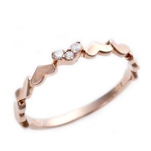 K10ピンクゴールド 天然ダイヤリング 指輪 ピンキーリング ダイヤモンドリング 0.03ct 3号 アンティーク調 プリンセス ハートモチーフ h01
